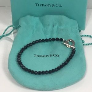 TIFFANY Silver Black Onyx Bead Toggle Bracelet